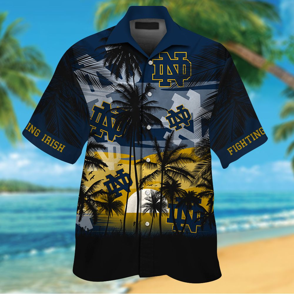 NCAA Notre Dame Fighting Irish Tropical Hawaiian Shirt Men Women Shorts