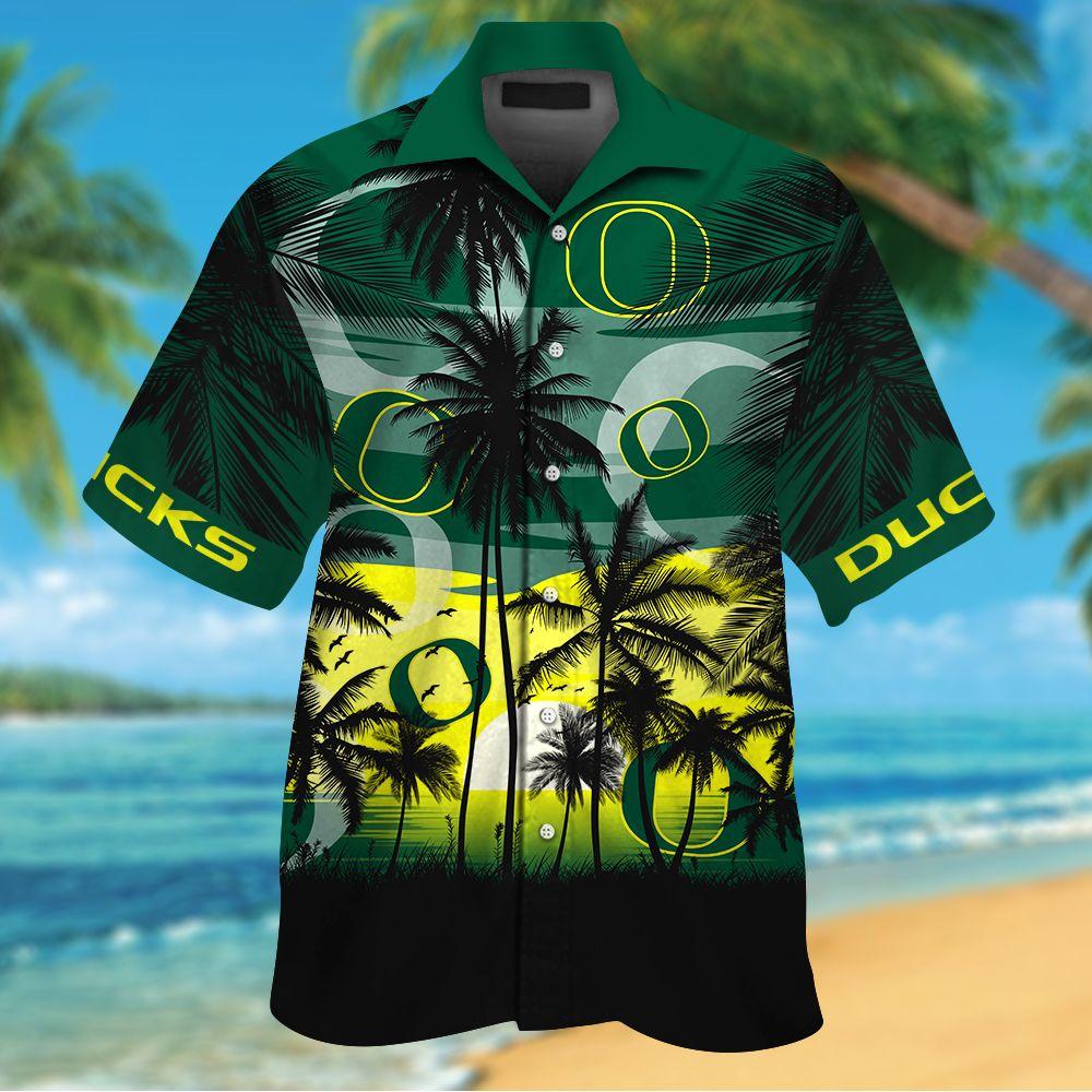 NCAA Oregon Ducks Tropical Hawaiian Shirt Men Women Shorts