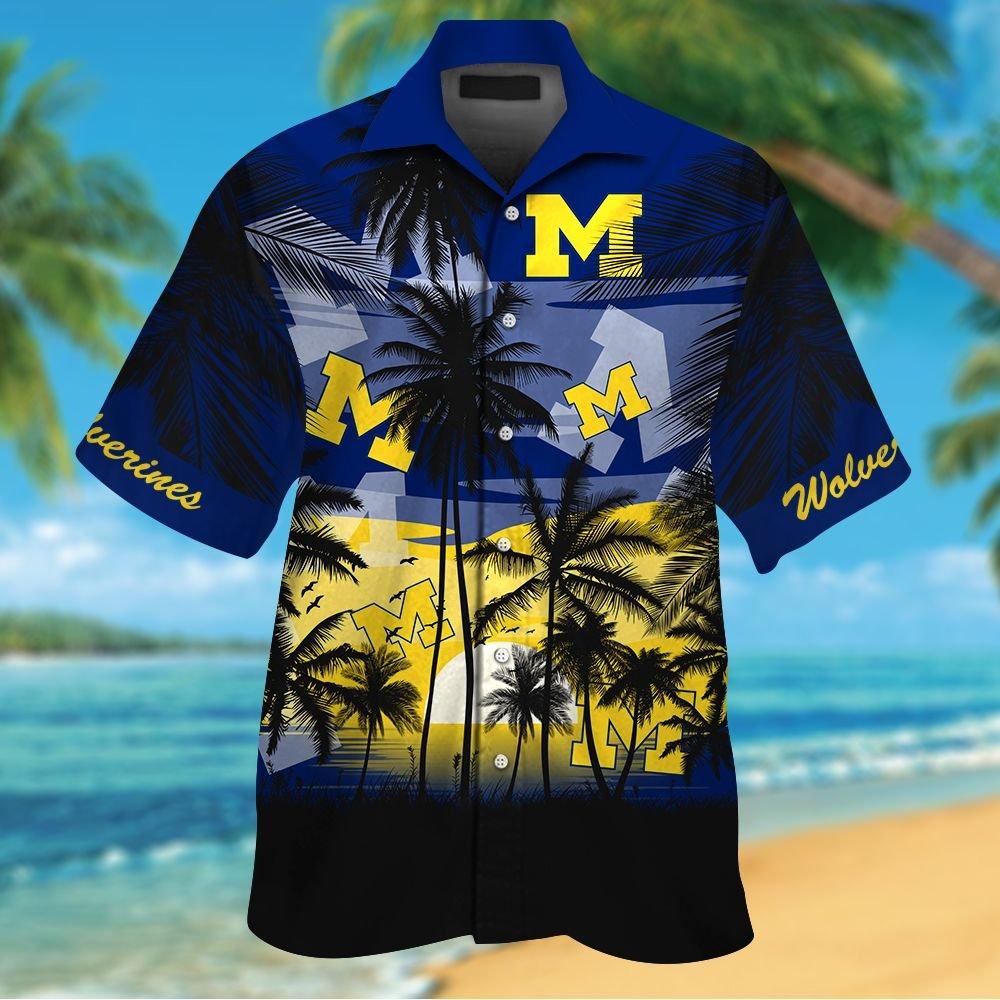 NCAA Michigan Wolverines Tropical Hawaiian Shirt Men Women Shorts