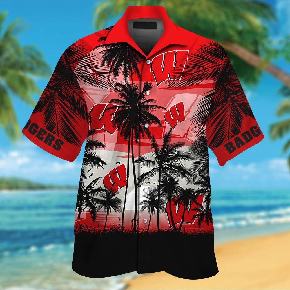 NCAA Wisconsin Badgers Tropical Hawaiian Shirt Men Women Shorts