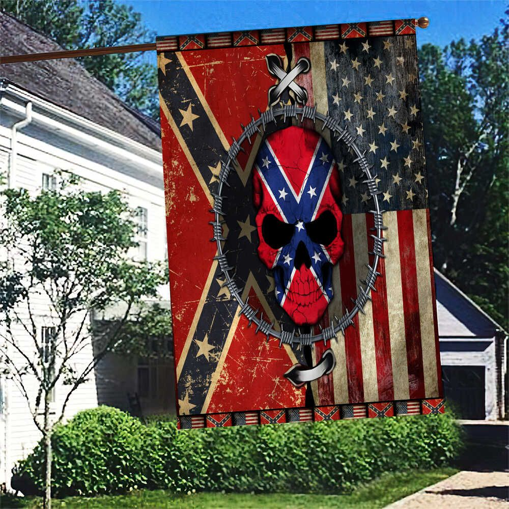 Southern Rebel Skull Logo Flag