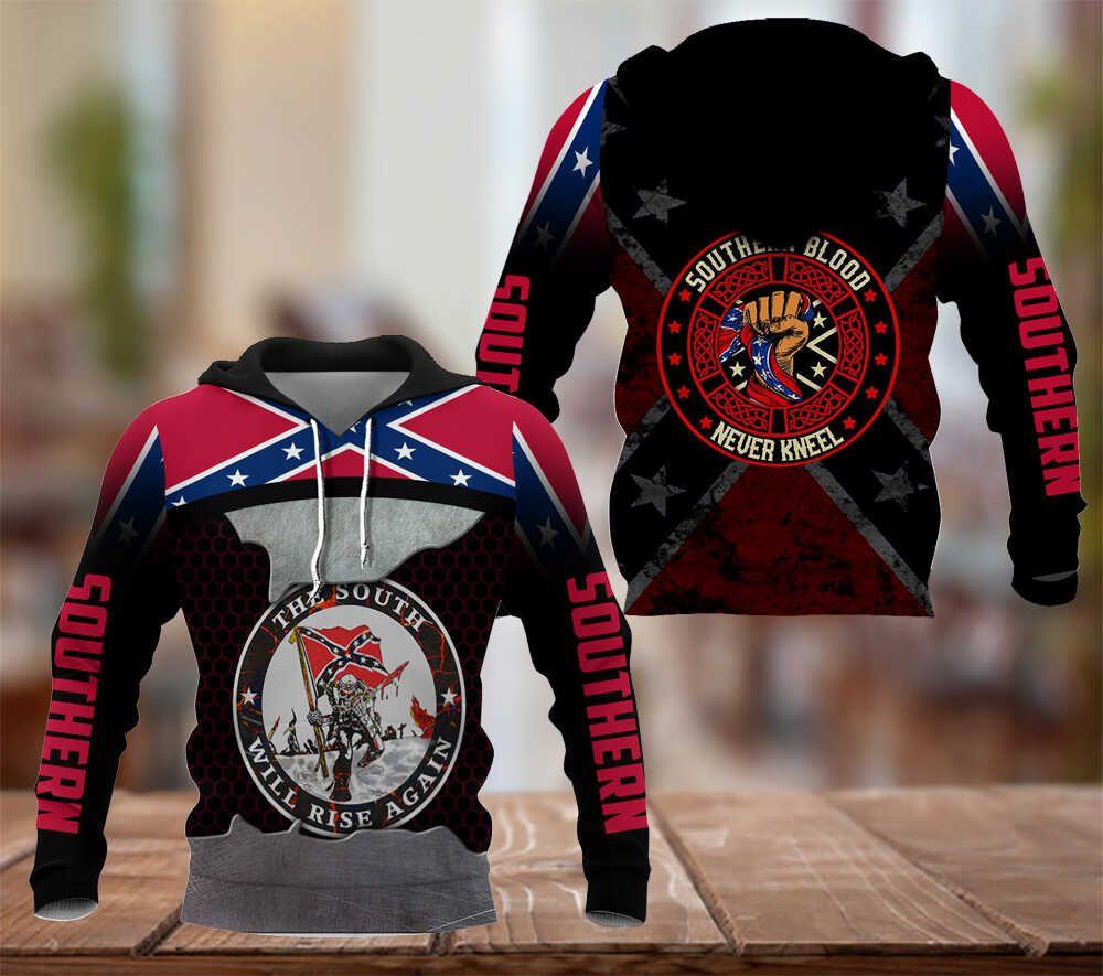 Southern Blood never kneel Hoodie 3D