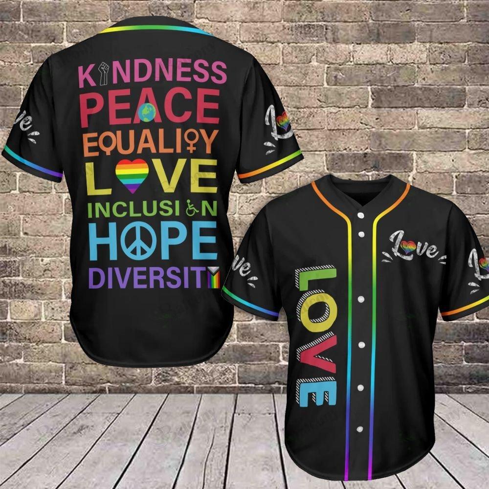 LGBT Love Equality Kindness Peace Baseball Jersey shirt