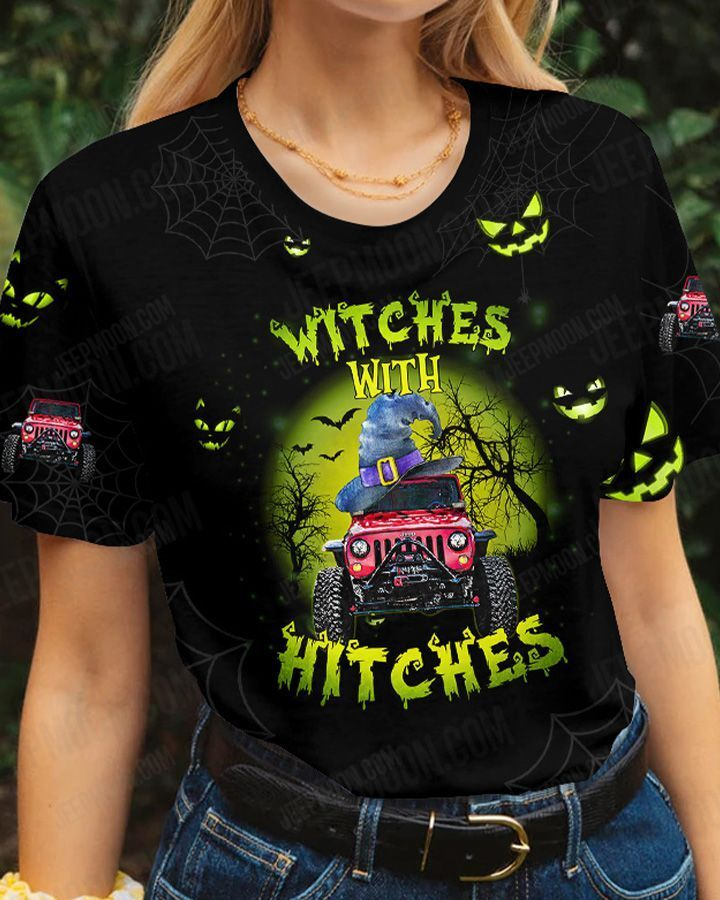 Halloween ghost Jeep witches with hitches 3D Tshirt