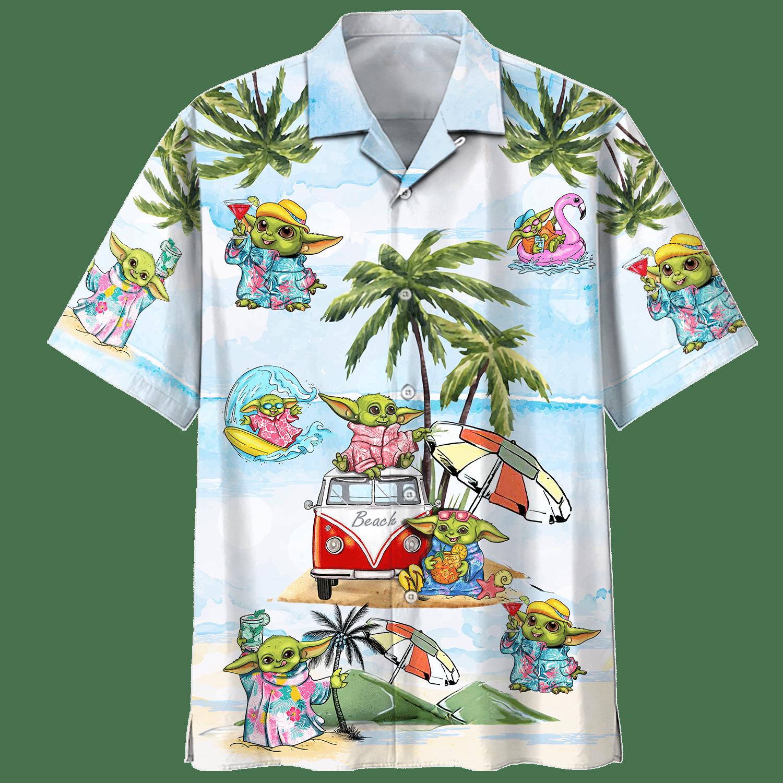 Baby Yoda Vacation Summer Time Hawaiian Shirt