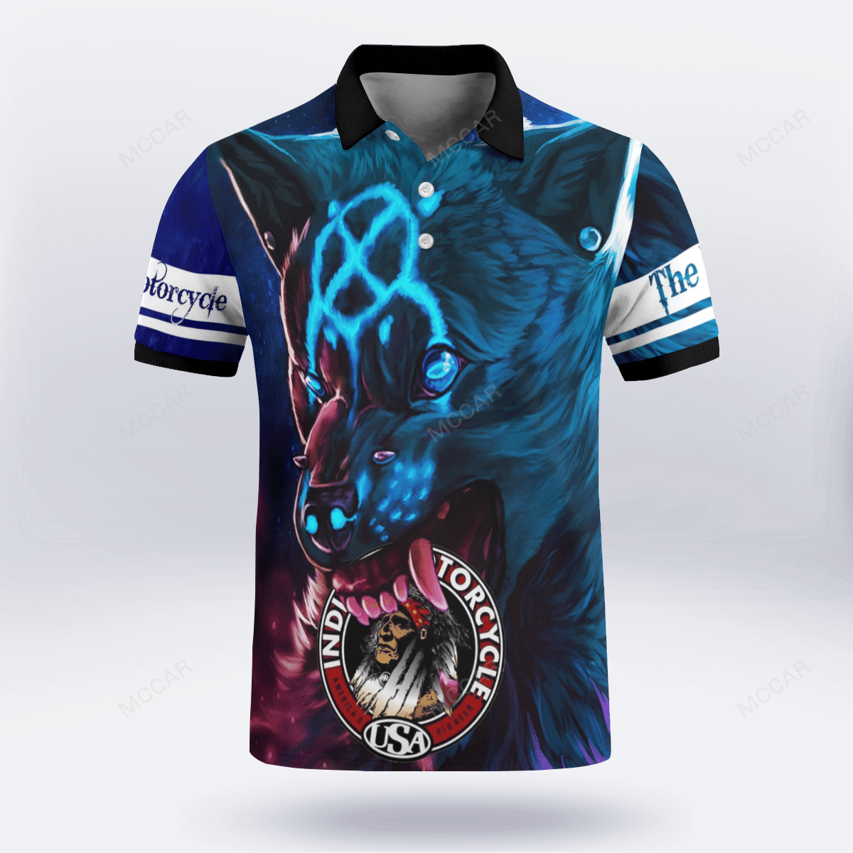 Indian motorcycle with wolf 3D Polo Shirt