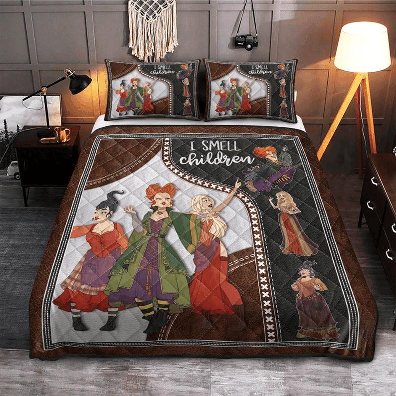 Hocus Pocus Witch I Smell Children Quilt Bedding Set