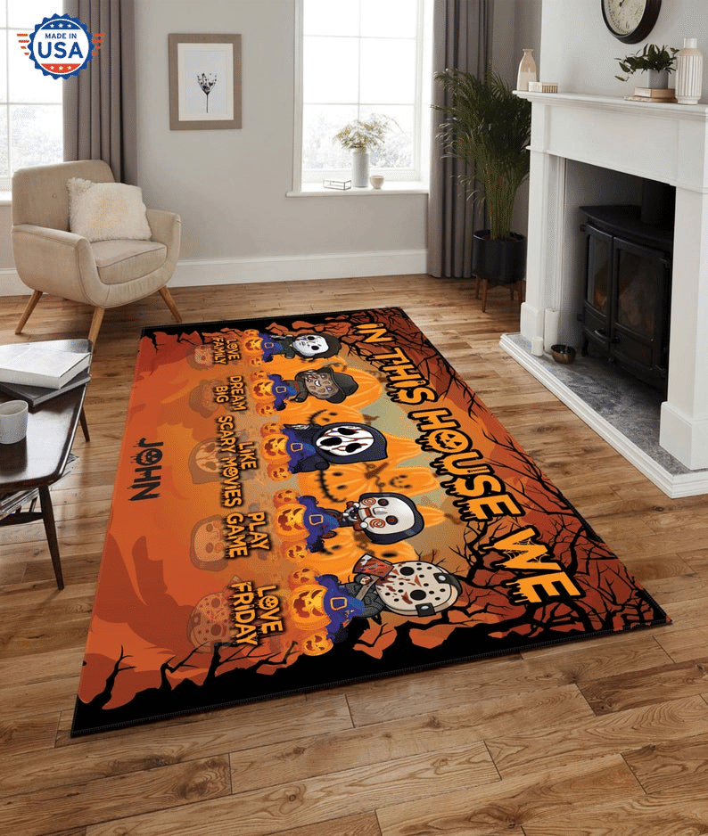 Personalized Chibi Halloween Horror Characters Carpet Rug