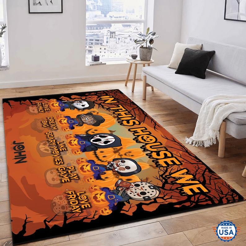 Personaliezed Chibi Halloween Horror Characters Carpet Rug