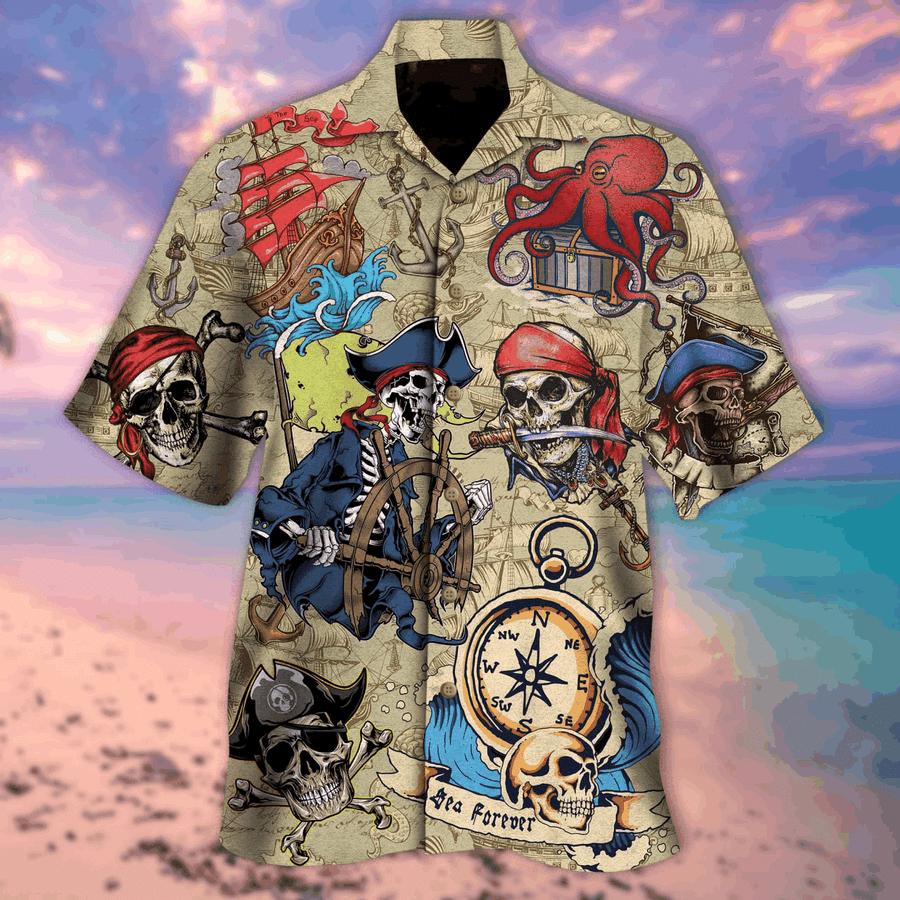 Vintage Skull Pirate Hawaiian Aloha Shirts