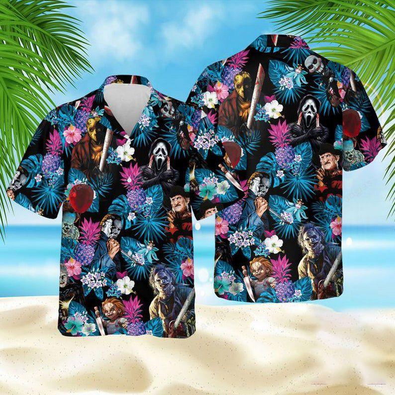 Horror Character Floral Hawaiian Shirt Summer Shirt