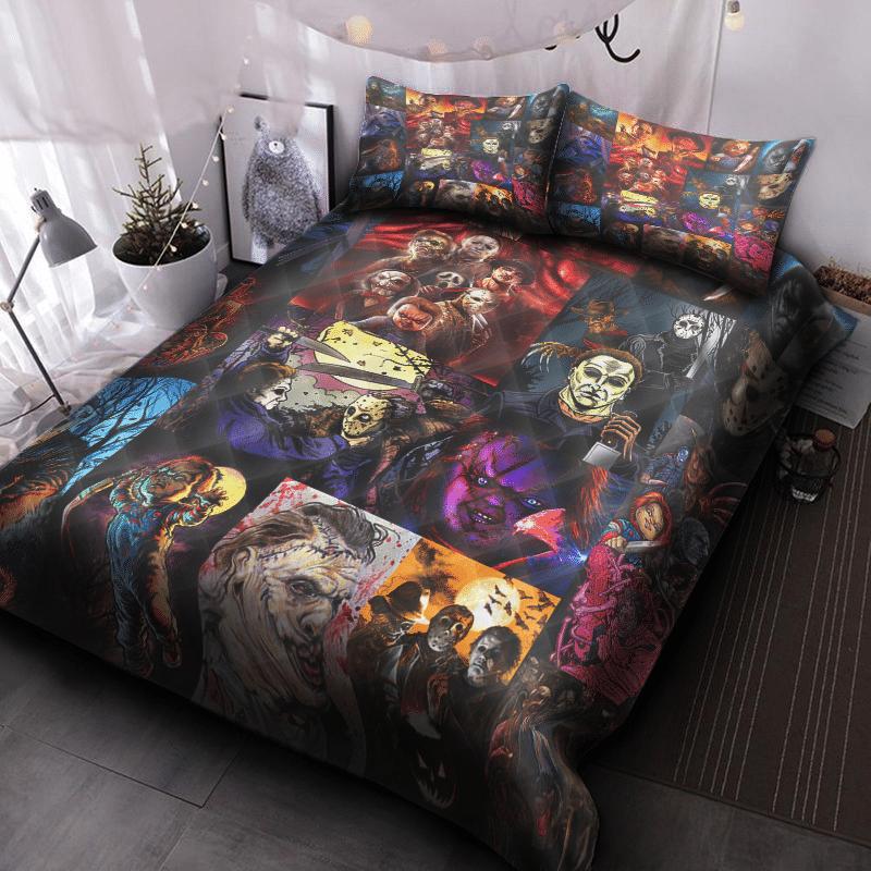 Halloween Horror Movies Neon Color Quilt Bed Set