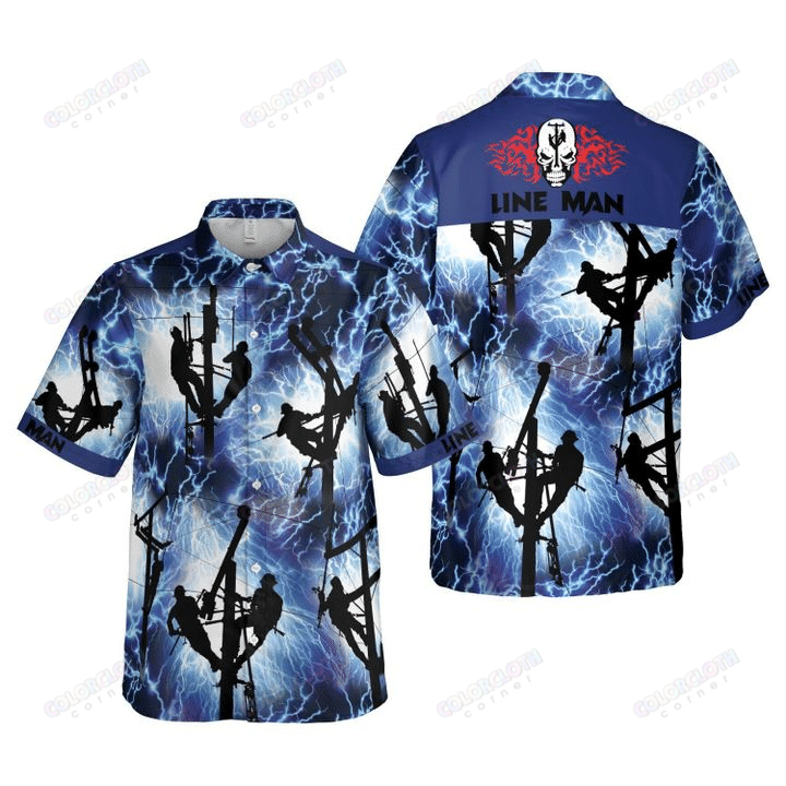 Lineman Thunder Storm Hawaiian Shirt