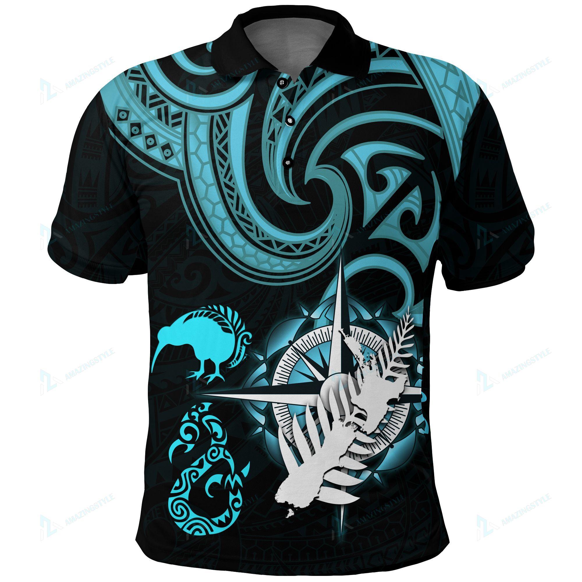 New Zealand Aotearoa Koru Map Compass Manaia Kiwi Shirts