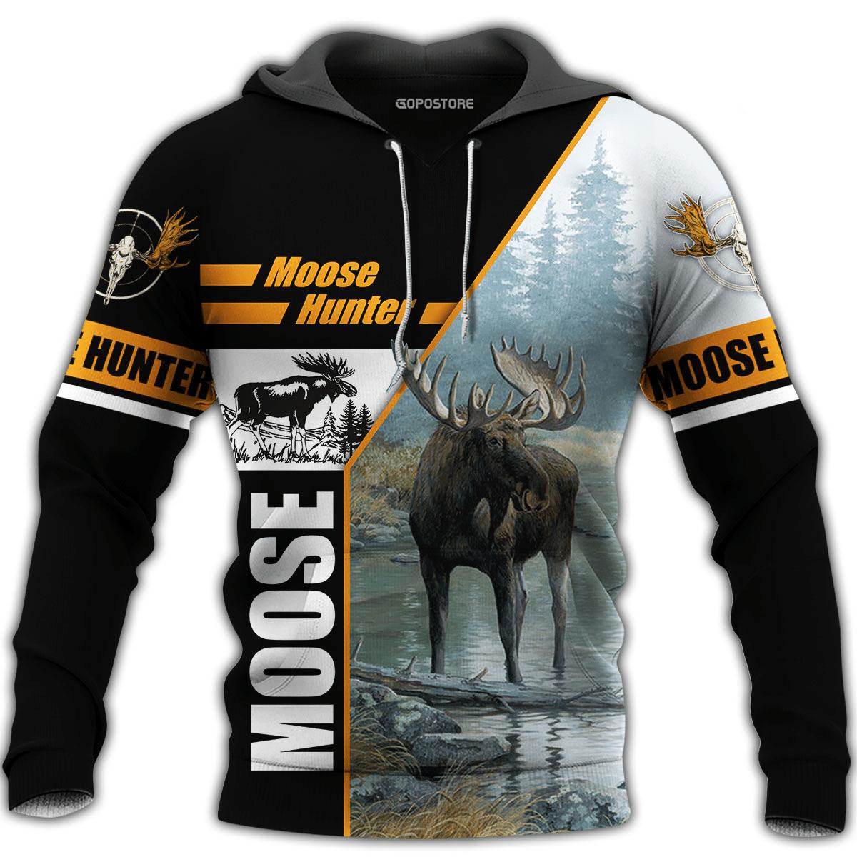 Moose Hunter Hunting Hoodie 3D