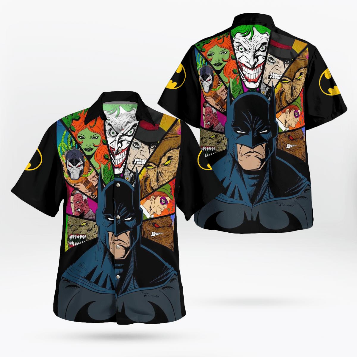Batman Animated and Villain Face Hawaiian Shirt