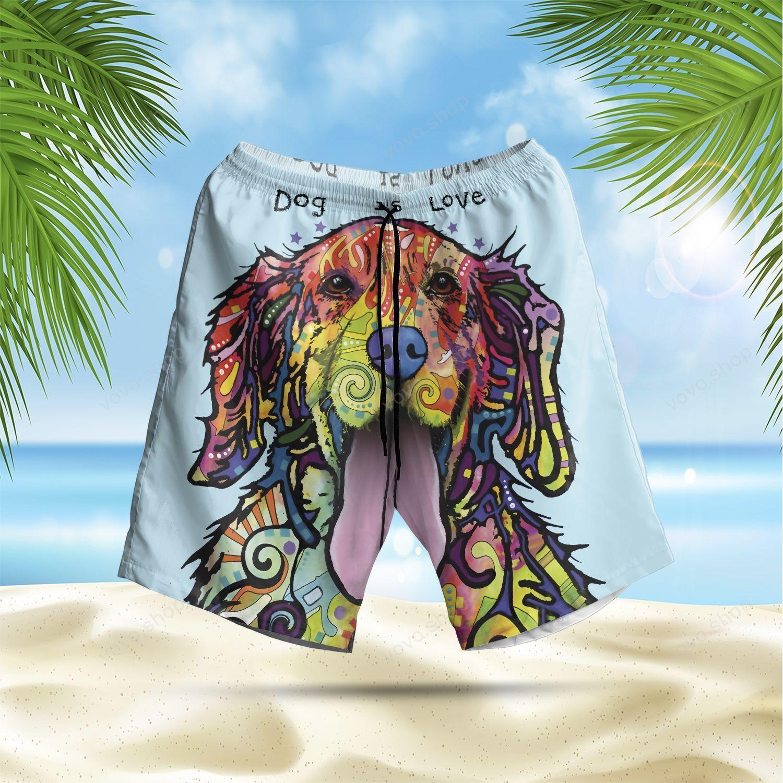 Golden Retriever Dog is Love Hawaiian Summer Shorts