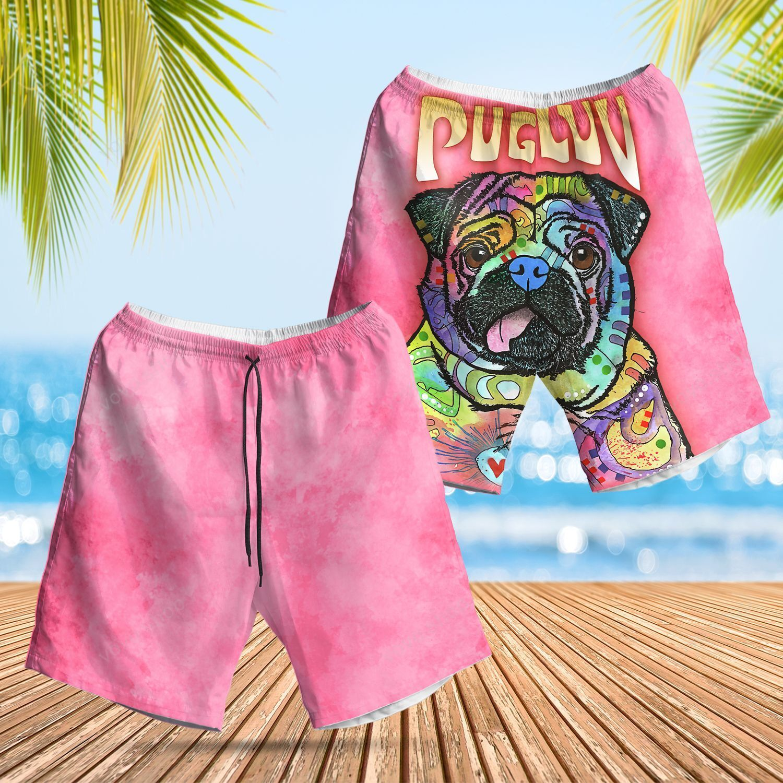 Pug Luv Colorful Pink version Hawaiian Summer Shorts