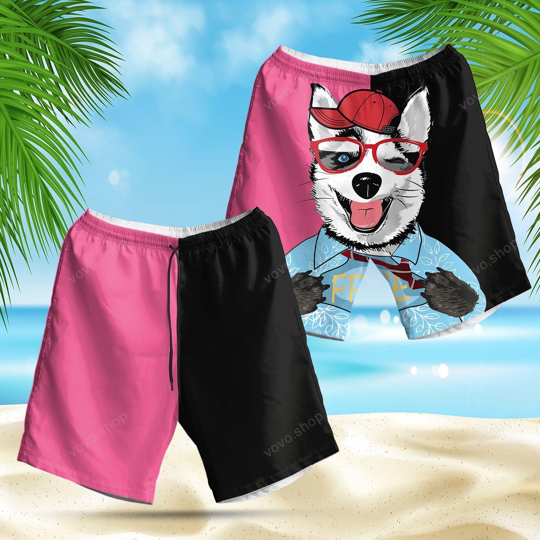 Funny Husky Cartoon Hawaiian Summer Shorts