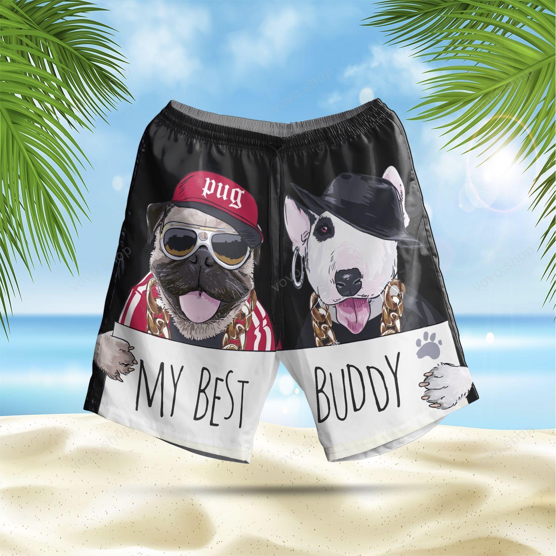 Cool Pug and Bull Terrier Best Buddy black version Hawaiian Summer Shorts