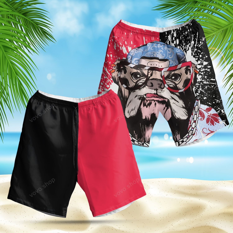 Cool Old BullDog Dog Lover Hawaiian Summer Shorts