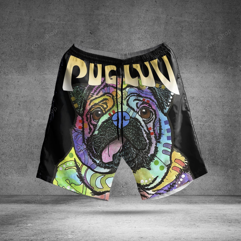Pug Luv Colorful Black Hawaiian Summer Shorts