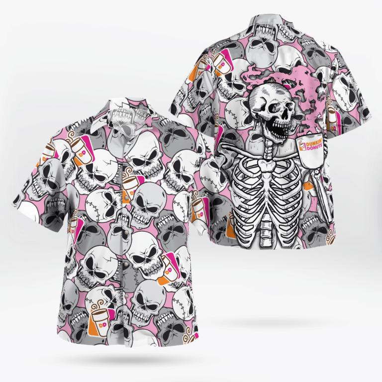 Skeleton Drink Dunkins Mug Hawaiian Back Shirt
