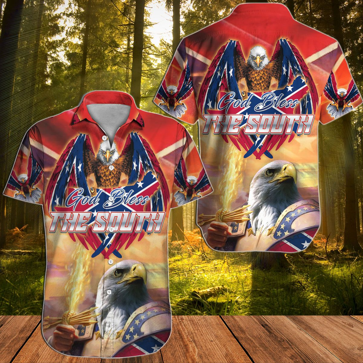 God bless the South Eagle Soldiers Hawaiian shirt