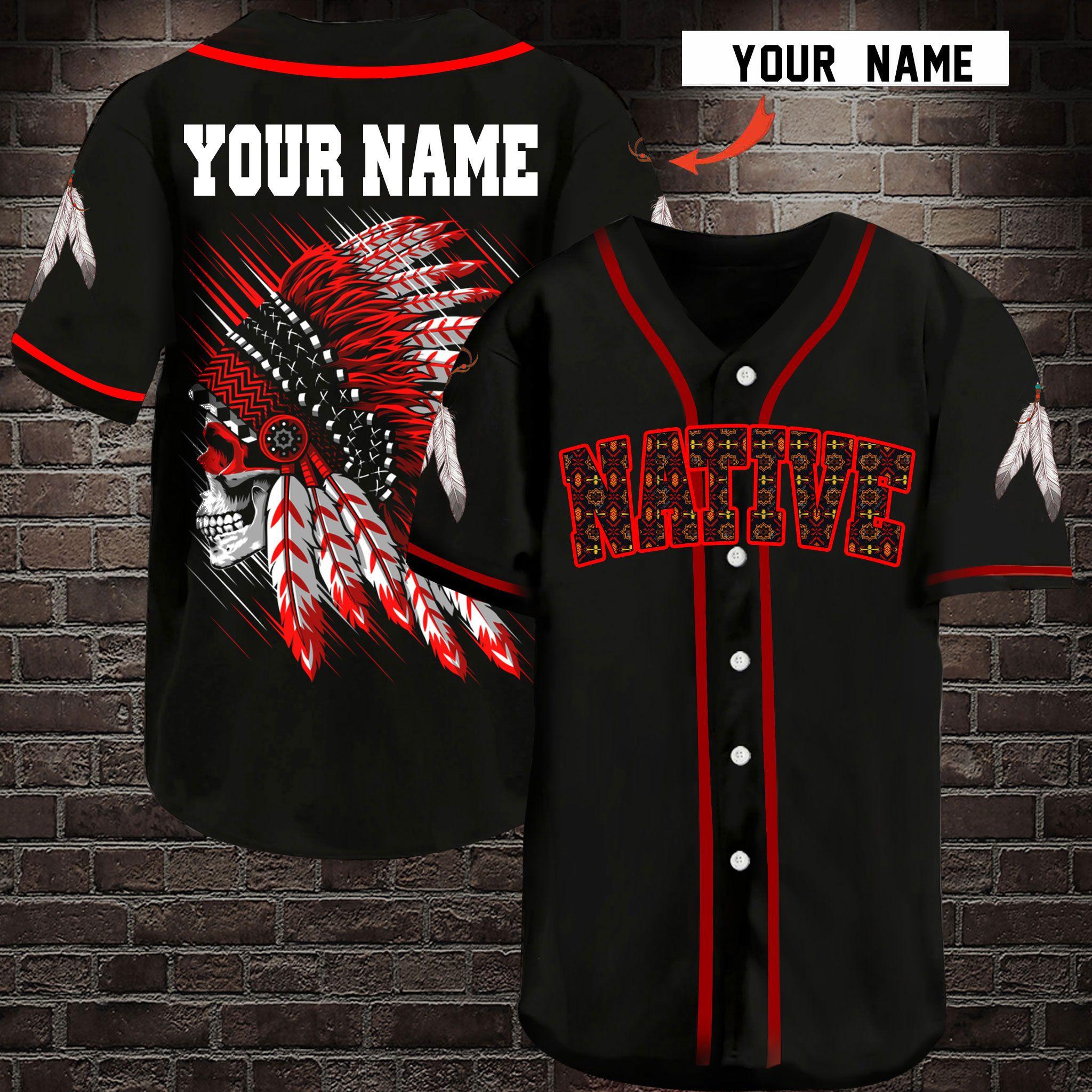 Native Customize Name Baseball Jersey Shirt