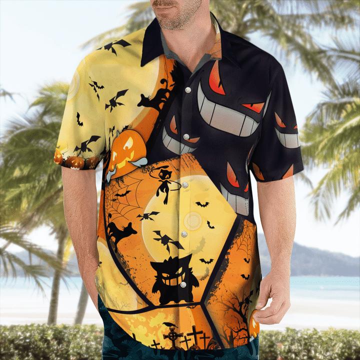 Gengar Pokemon Halloween Hawaiian Shirt