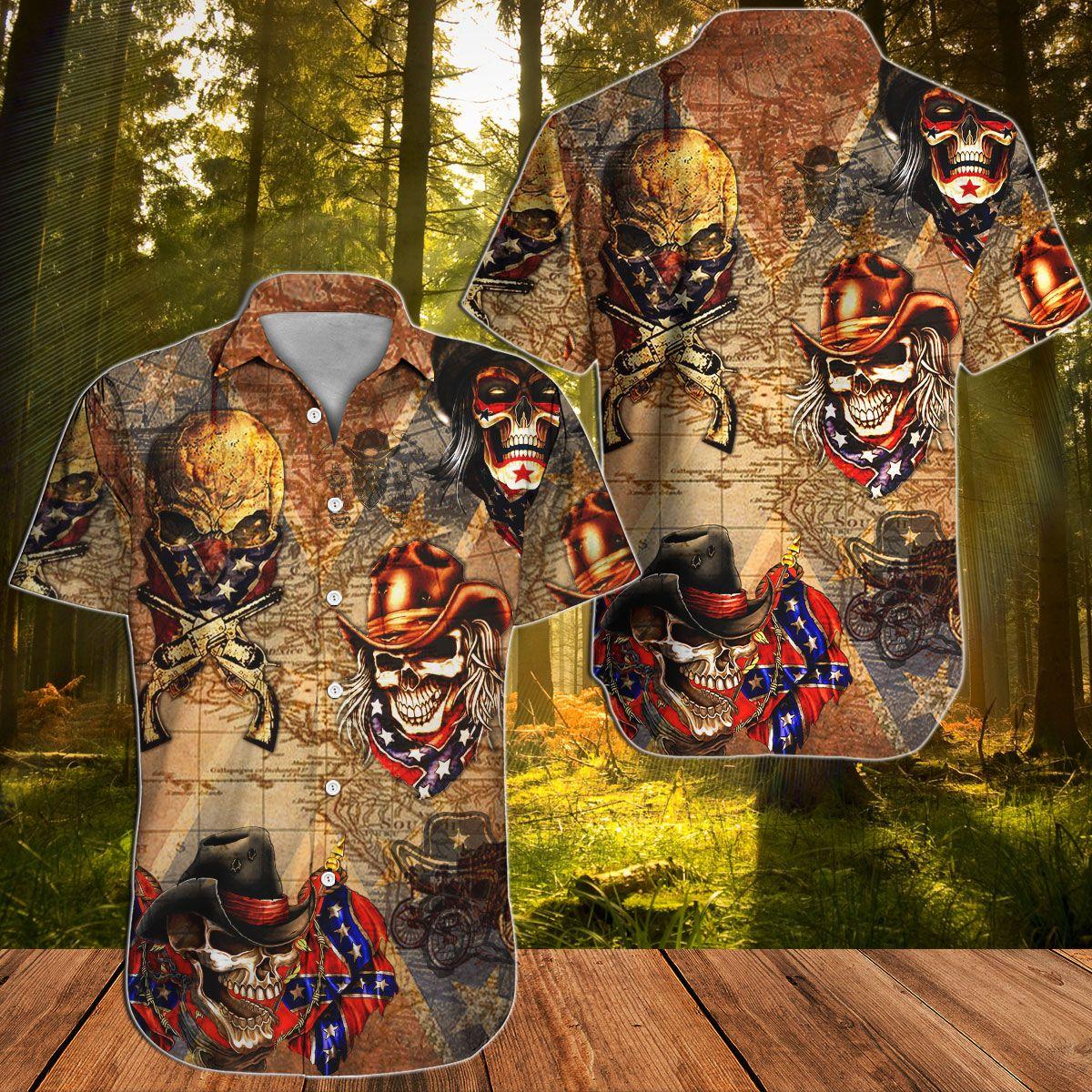 Southern Skull Cowboys Rebel Hawaiian shirt