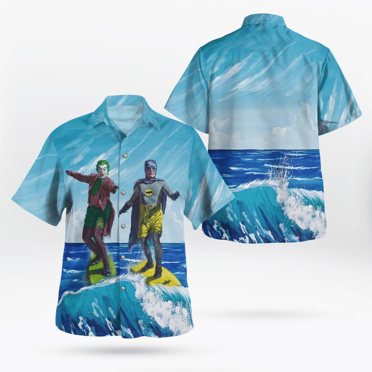 Duel Surfing Batman and Joker Hawaiian Shirt and Shorts