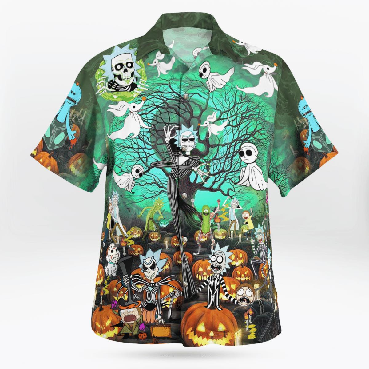Halloween pumpkin nightmare ghost Hawaiian Shirt