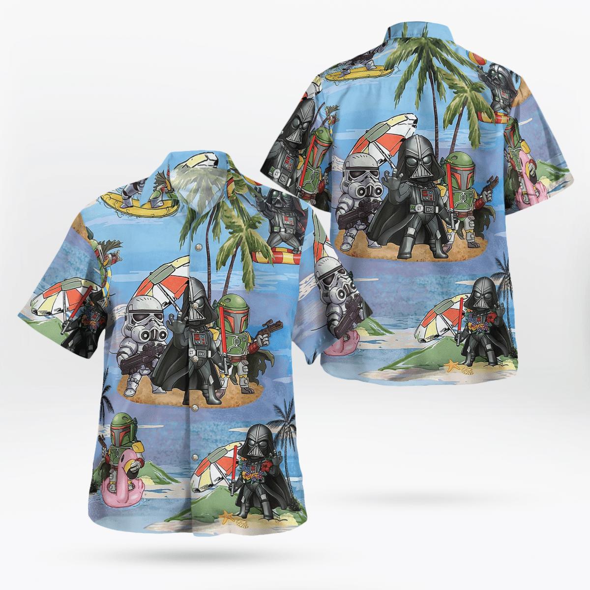 Star wars Vader Stormtrooper Boba Fett Beach Hawaiian Shirt