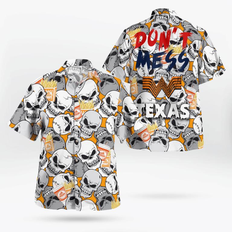 Whataburger Skulls Dont mess Texas Hawaiian Shirt For Halloween