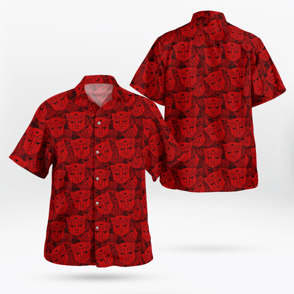 Transformers Optimus Prime red face 3D T-shirt and Hawaiian Shirt