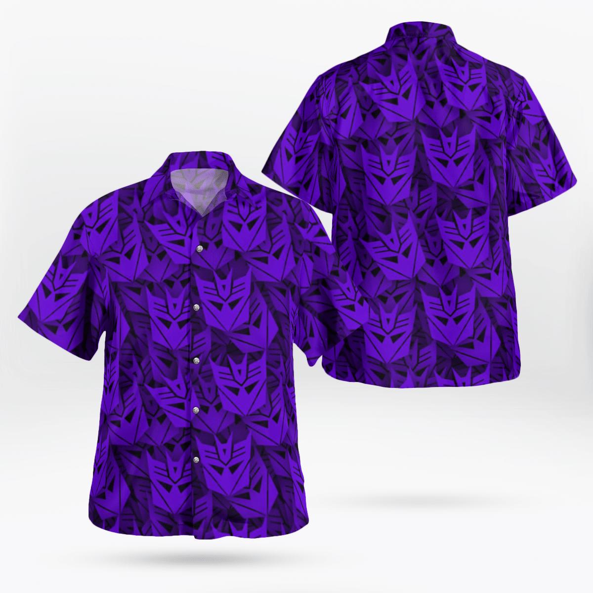 Decepticon Transformer Purple Hawaiian Shirt