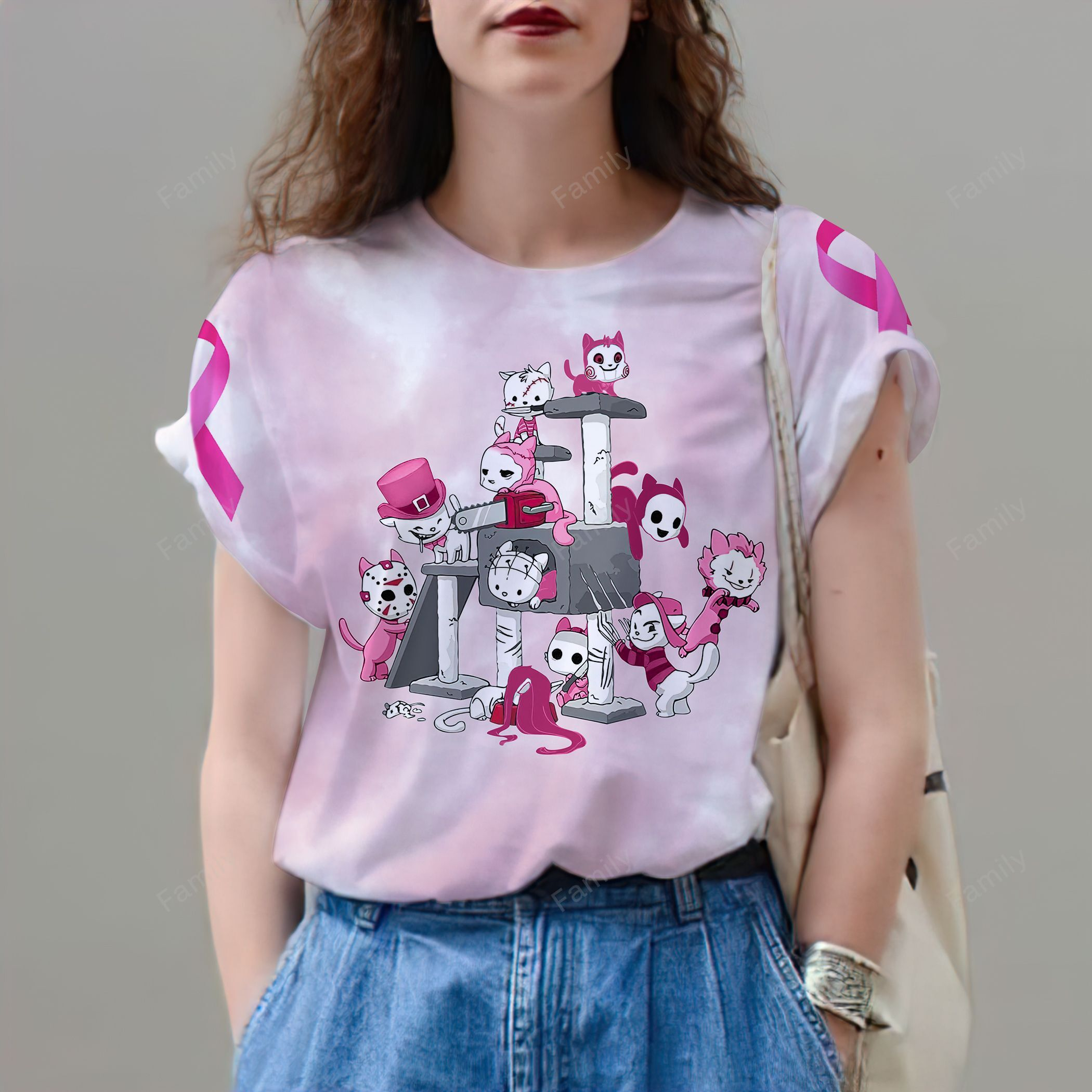 In October We Wear Pink Breast Cancer Awareness Cat Lovers 3D shirt
