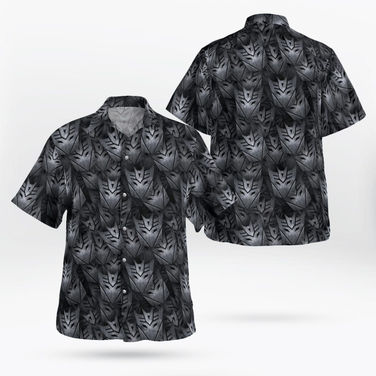 Decepticon Transformer Grey Hawaiian Shirt