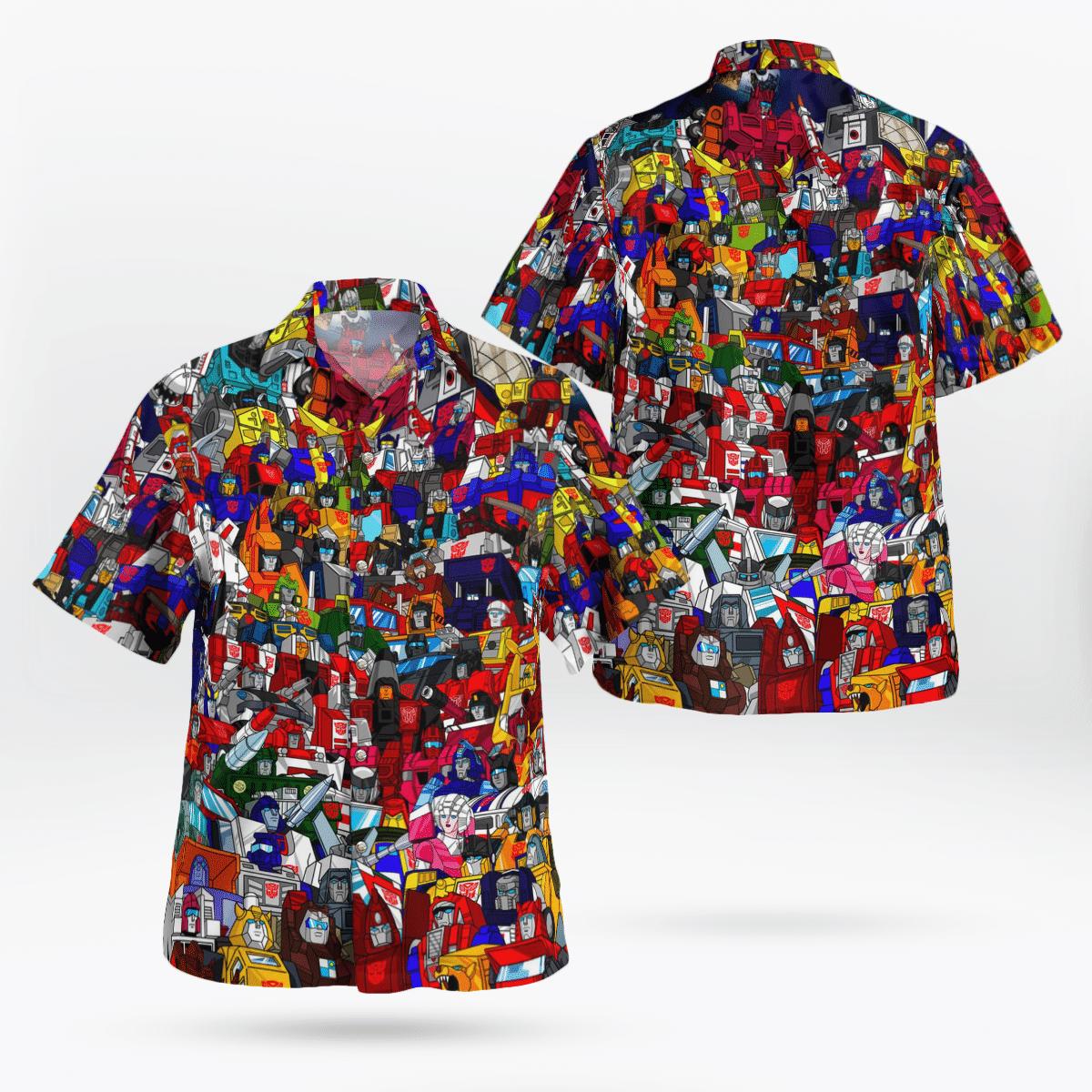 Transformer 80s Colorful Hawaiian Shirt