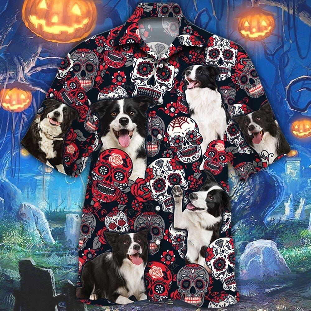 Border Collie Dog Lovers Sugar Skull Floral Hawaiian Shirt