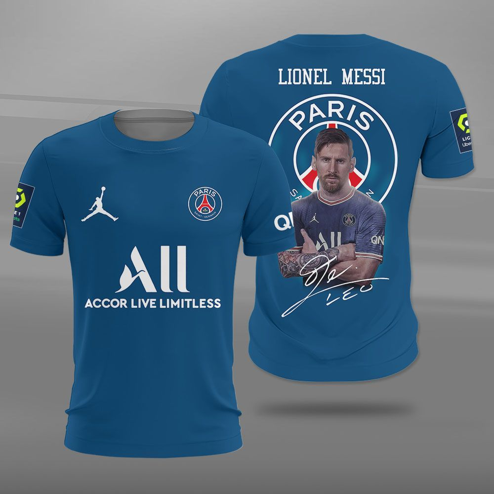 Lionel Messi Trophy with PSG 3D shirt