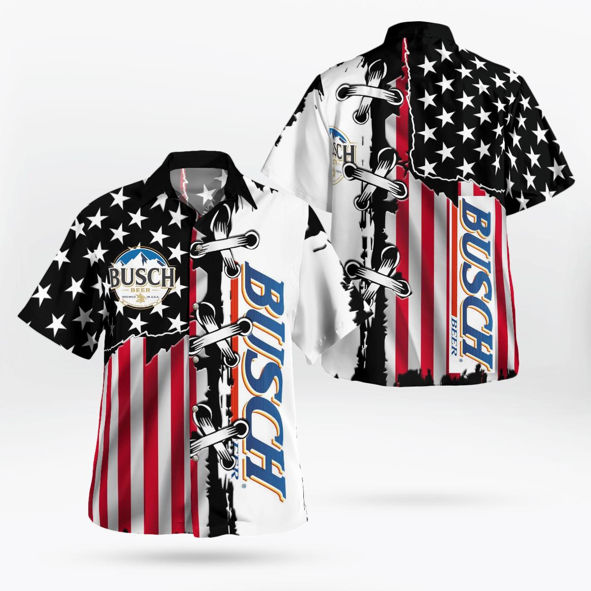 Busch Beer American Flag Hawaiian Shirt
