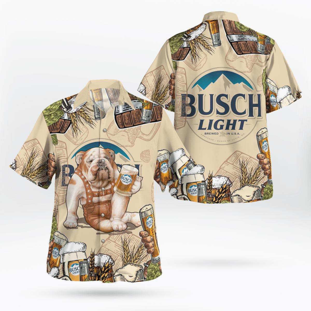 Bulldog Busch Light Beer Hawaiian Shirt