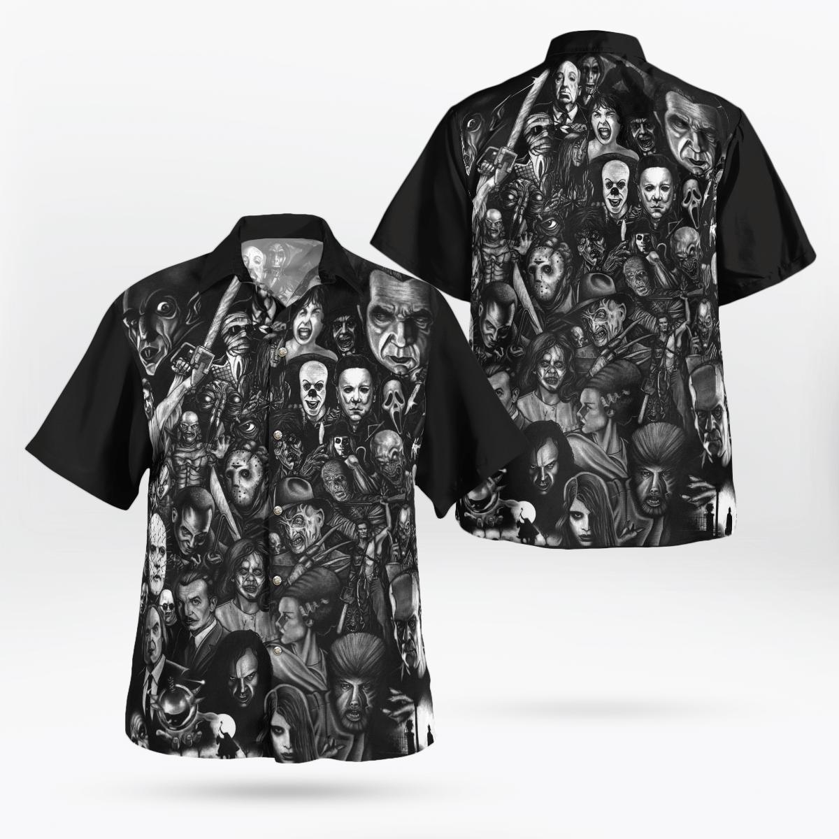 Horror Characters Halloween Movie Black Hawaiian Shirt