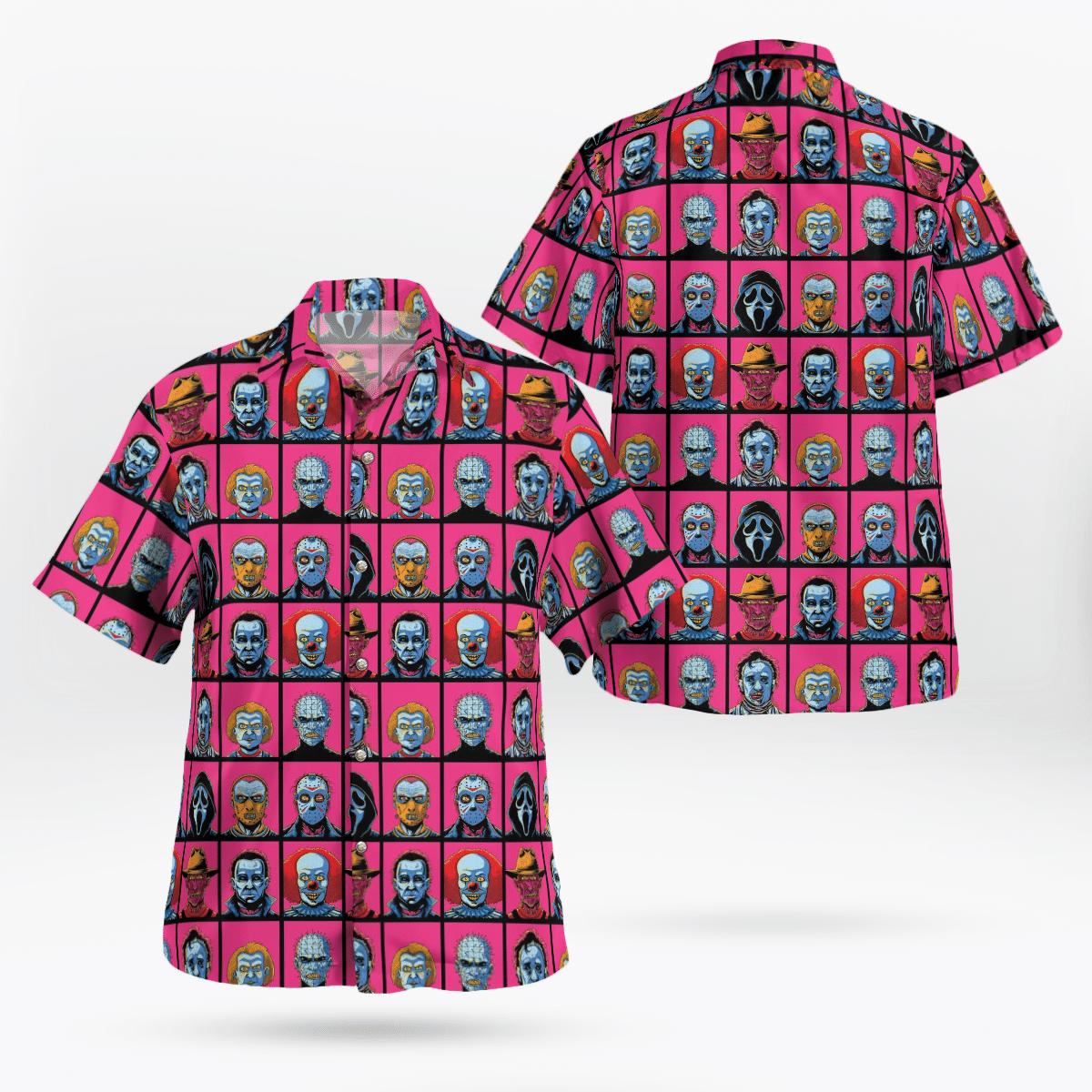 Horror Characters Face Halloween Pink Hawaiian Shirt