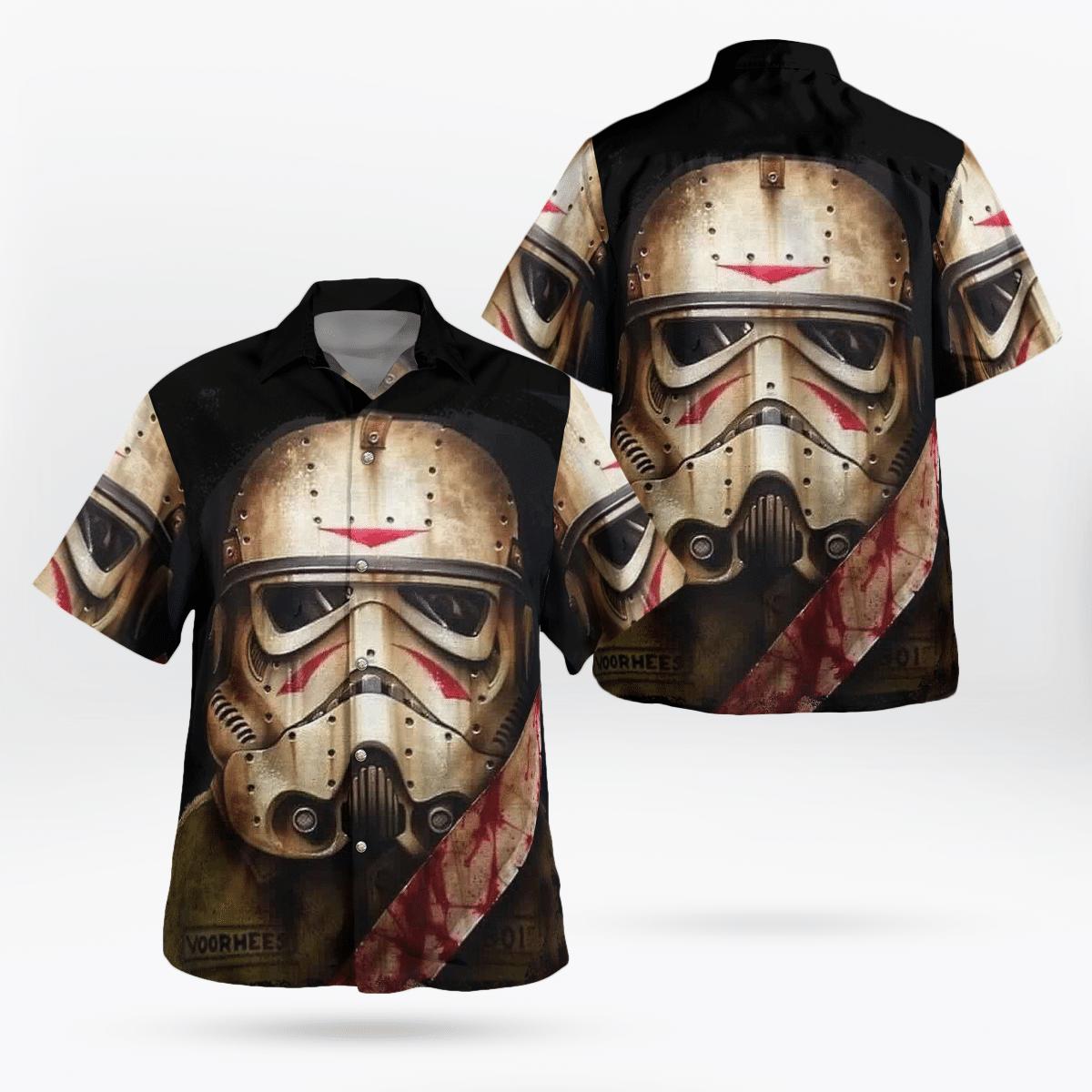 Halloween Stormtrooper Face Star wars Knife Hawaiian Shirt