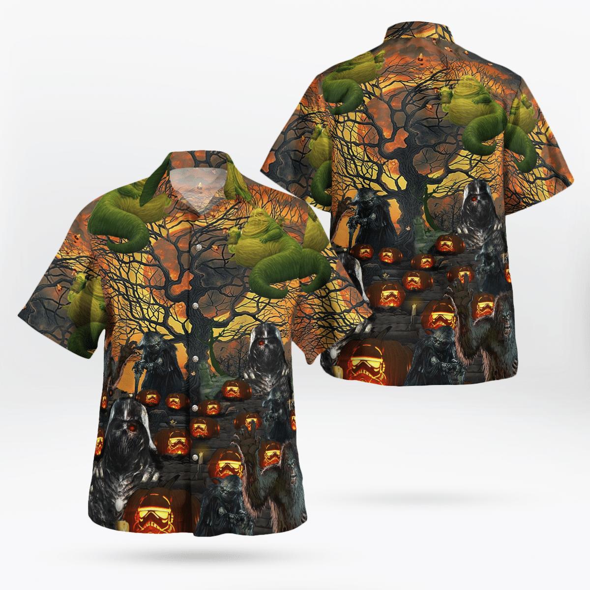 Halloween Star wars demonize Vader Yoda Chewbacca Hawaiian Shirt