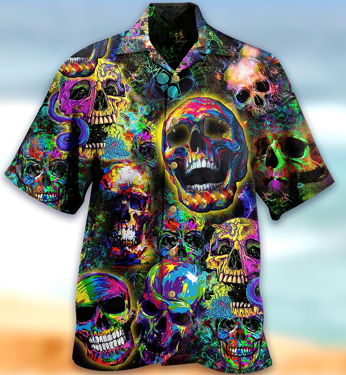 SKULL SMILEY Colorfull HAWAIIAN SHIRT