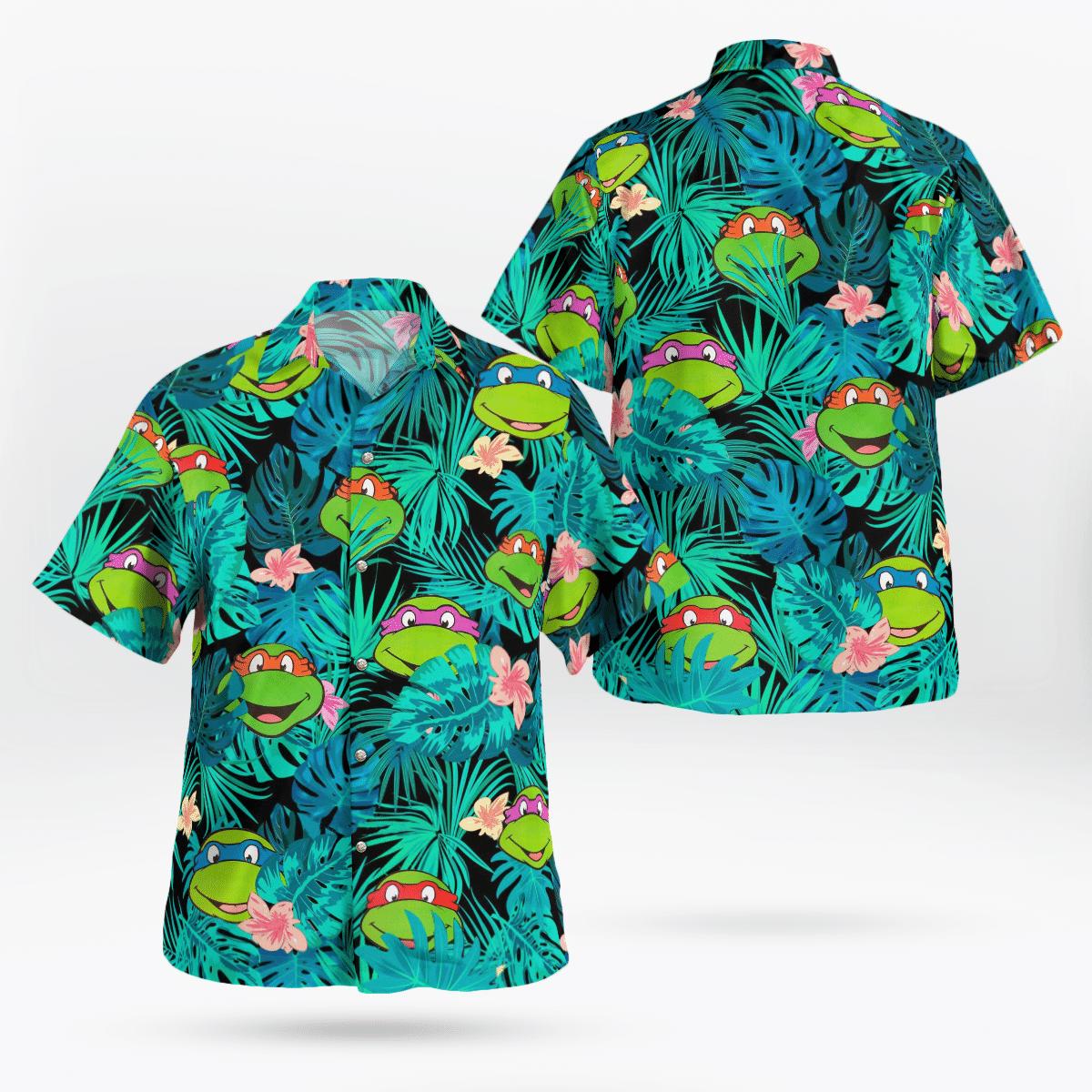 Ninja Turtles Face Floral Hawaiian Shirt